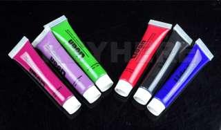 12 Colors 3D Nail Art Gel Paint Brush Tube Acrylic Tips