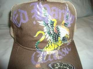 NWT NEW DON ED HARDY CRYSTAL RHINESTONE CAP EAGLE TIGER BROWN TRUCKER