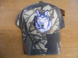LONE WOLF HEAD FACE NATIVE AMERICAN INDIAN CAMO HAT CAP