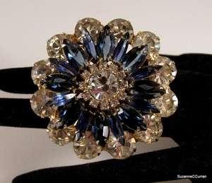 Whoa Vintage Crystal & Sapphire Blue Rhinestone Flower Brooch Pin