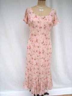 Chadwicks Silk Chiffon Maxi Dress Blush Print Sz 6P