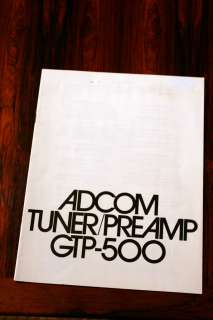 Adcom GTP 500 Preamplifier Owners Manual *Original*