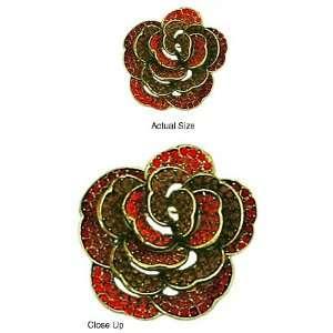 Red Swarovski Crystal Rose Brooch