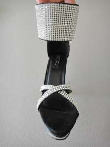 Prom Bridal Club Rhinestone Cuff Black Bling Stiletto Platform Heels
