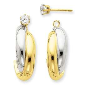 14k Two Tone Gold Criss Cross Hoop Earring Jackets *