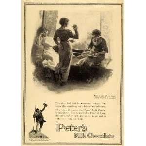 1913 Ad Daniel Peters Inventor Milk Chocolate Candy Bar