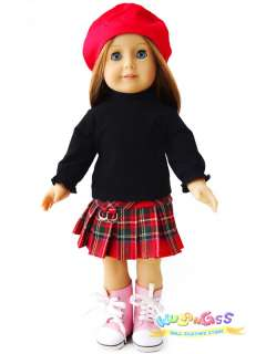 red hat&black shirt&plaid skirt fits 18 American girl