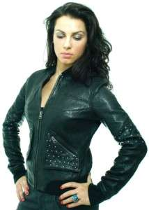 599 Ed Hardy Christian AUDIGIER Womens Black Lamb Leather Biker