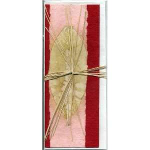 Red Handmade Greeting Card; Real Leaf Imprint on Handmade Paper; Note
