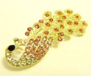 Fashion Jewelry Womens Korean Crystals Pink Peacock Pin Brooch xz9