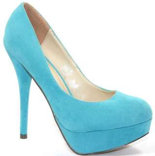 6642 WOMENS SKY BLUE FAUX SUEDE STILETTO HIGH HEEL COURT SHOES SIZE 3
