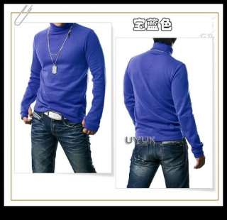 Mens Slim Fit Wool Knitted Turtleneck Sweater Tops Shirts With Gloves