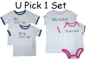 MATCHING BIG LITTLE BROTHER or SISTER SHIRTS NWT CARTERS WHITE BLUE