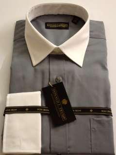 DONALD TRUMP Dress Shirt Solid White Collar/French Cuff Nickel