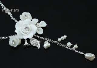 White Rose Necklace Bracelet Earrings Set