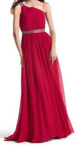 NWT WHITE HOUSE BLACK MARKET RUBY RED ONE SHOULDER GOWN 0