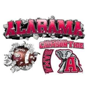 Alabama Crimson Tide Wallcrasher Wall Decal   Multi Logo 5