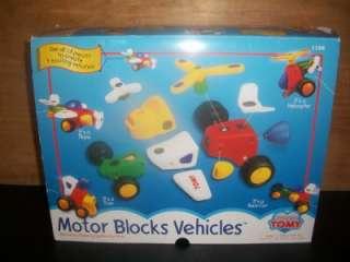 TOMY MOTOR BLOCKS VEHICLES PRESCHOOL MAKES 4 VEHICLES