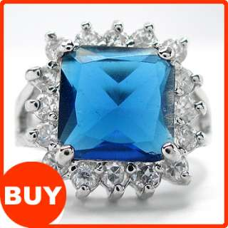 Fashion Jewelry Blue Sapphire White 18k Gold Plated GP Ladies Ring