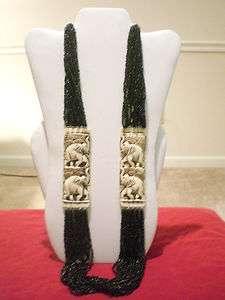 Nepali Tibetan Handmade elephant lion yak bone onyx glass bead design