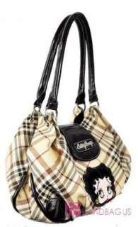 New Licensed Betty Boop Plaid Handbag Tote Purse Tan