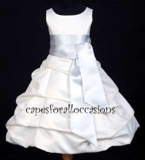QUINCEANERA PARTY WEDDING BRIDE FLOWER GIRL DRESS WHITE/SILVER 4 6 8