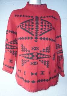 & Black Indian Sweater M Medium native american ladies women