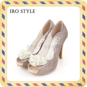 Leather Pearl Decorated High Heel (Wedding shoes)/ Pink & Peach