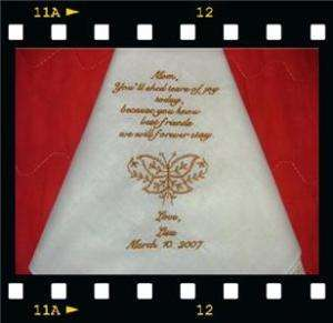 WeDDinG Mother Bride Groom Butterfly Hankie Favor Gift