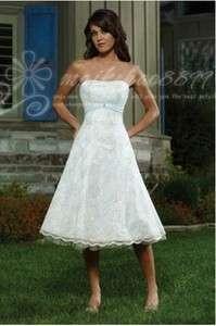 Short Summer Wedding Dress Bride Bridesmaid Party Gowns Size 6 8 10 12