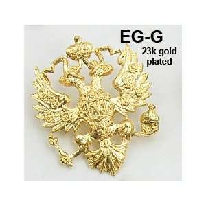 Russian Double Headed Eagle   Bright Gold Lapel Pin: Home