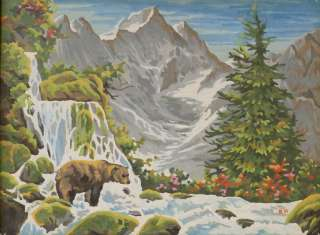 Mountains Waterfall Grizzly Bear 16x12 Acrylic Painting Landscape Art