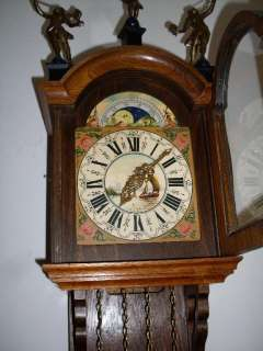 Warmink Dutch Friese tailed Oak 8 Day Wall Clock Moon Phase bim bam
