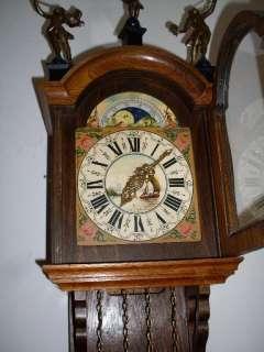 Warmink Dutch Friese tailed Oak 8 Day Wall Clock Moon Phase bim bam