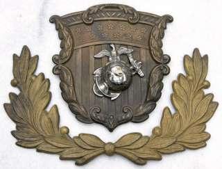 Civil War Surplus M1858 MARINE CORPS SHAKO PLATE USMC 2 pc Brass