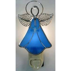 Stained Glass Angel Night Light   Blue
