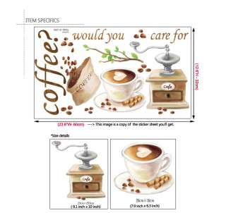 NEW COFFEE BEANS LATTE WALL ART DECORATIVE STICKER PAPER FOR BISTRO