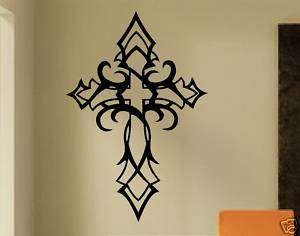 Vinyl Wall Lettering Words Quote Decal Art Tribal Cross