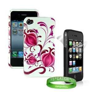 Apple iphone 4 Accessories Kit Hot Pink Flower Design Hard Snap On