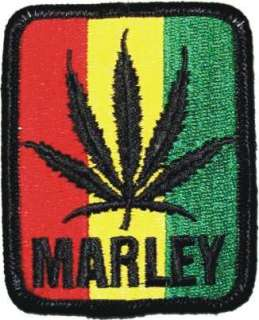 Bob Marley Pot Leaf Rasta Flag Logo Iron On Patch Cloing