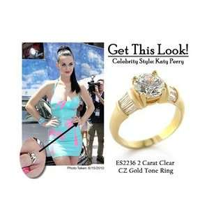 ES2236 KATY PERRY Inspired   Gold Tone CZ Engagement Ring