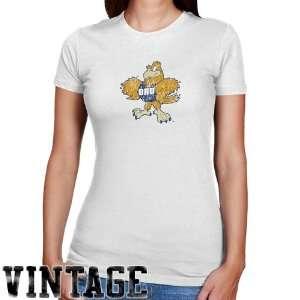 Oral Roberts Golden Eagles Ladies White Distressed Logo Vintage Slim