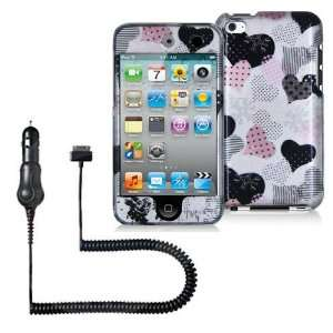 iPOD TOUCH 4 / 4G / 4TH LOVE DESERT PINK HEARTS ON SILVER