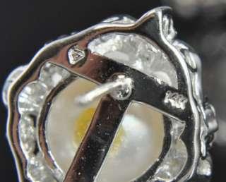 Gold 14mm Akoya Pearl Diamond Cluster Omega Clip Post Earrings