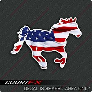 Mustang Horse American Flag Decal Right