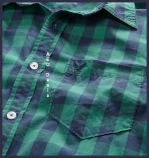 American Eagle AE Mens Athletic Fit BLUE GREEN PLAID Shirt New FREE