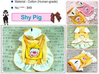 Small Dog Clothes Pig Backpack Costume Hoodie Dress,849