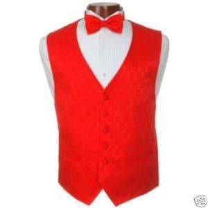 New Valentines Day Red Heart Tuxedo Vest and Bowtie