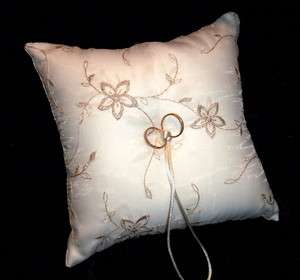 Ivory Wedding Ring Bearer Pillow With Gold Highlights