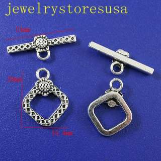 description15Sets Tibetan silver sunflower square toggle clasps h0463